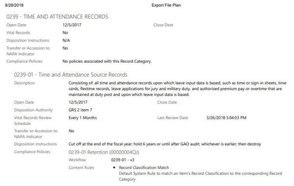 File Plan Export