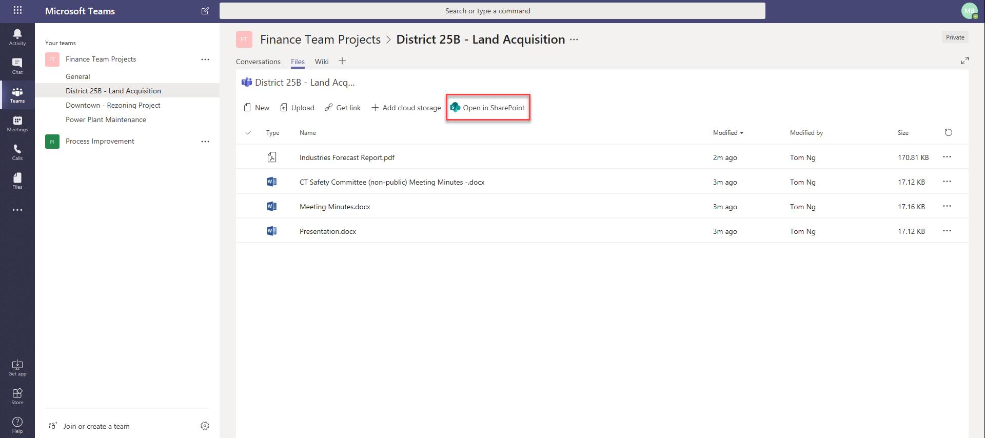 General Teams screenshot with file tab