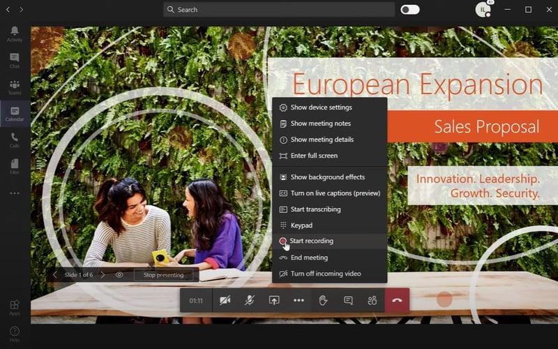 Microsoft teams meeting recording screen capture