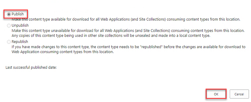 Published SharePoint Content Type