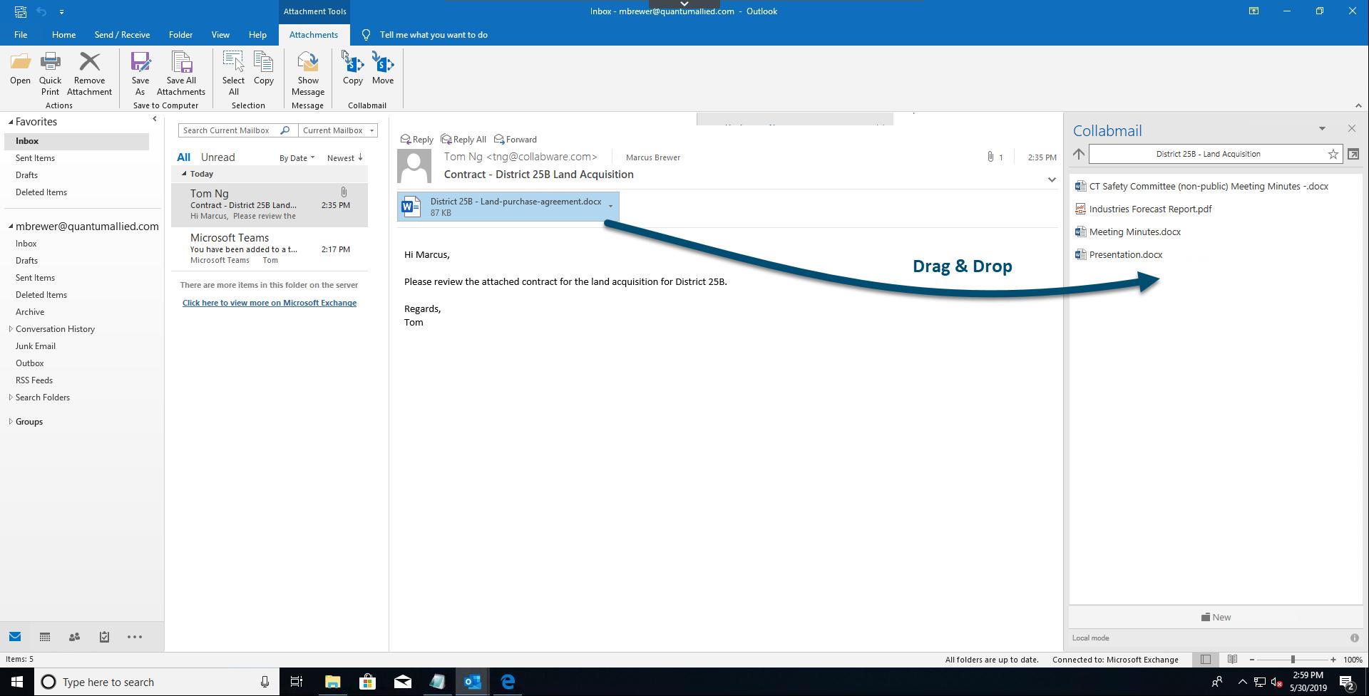 Screenshot of drag and drop from vendor