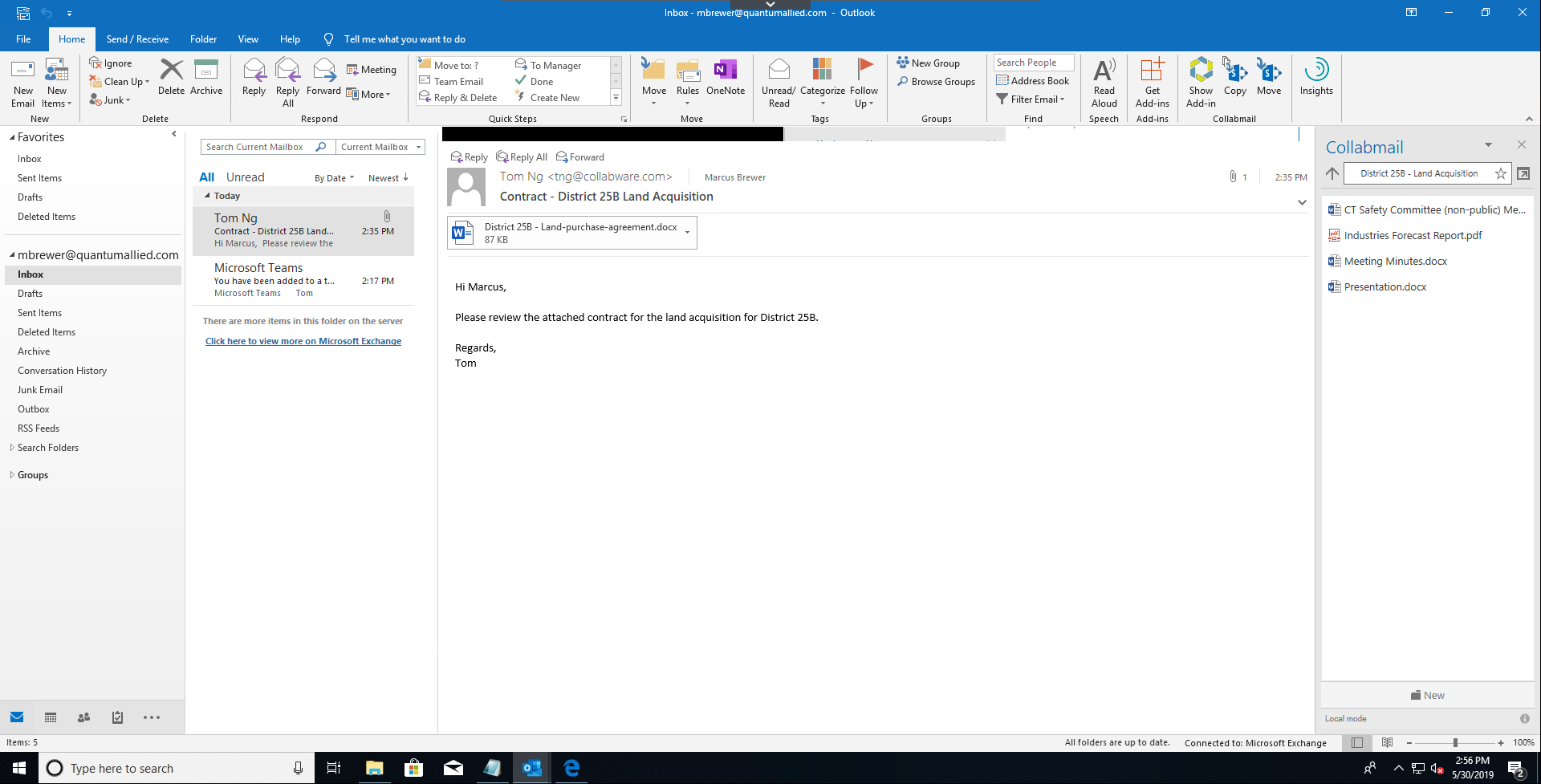 Show Collabmail with Teams integrated (same tab and document library) - 3