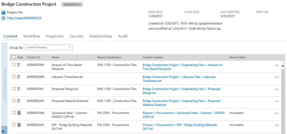An employee file represented as a Collabware CLM Aggregate, which organizes information across SharePoint locations for unified case management.