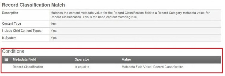 Record Classification Match Conditions