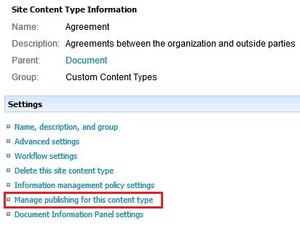 Content Type Publish