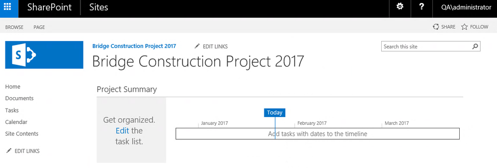 SharePoint Team Site for case management.