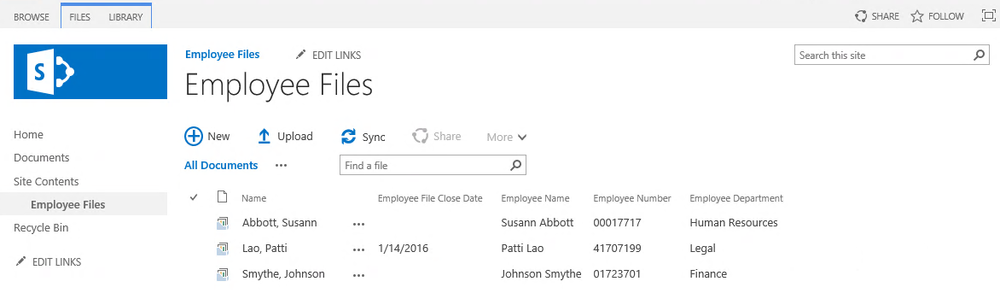 SharePoint Document Sets for employee file case management.