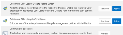 Activating the Collabware CLM Legacy Declare Record Button within Site Features