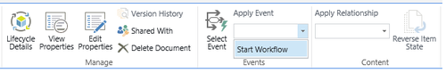 Users can start a Workflow by clicking this option or clicking the select event button